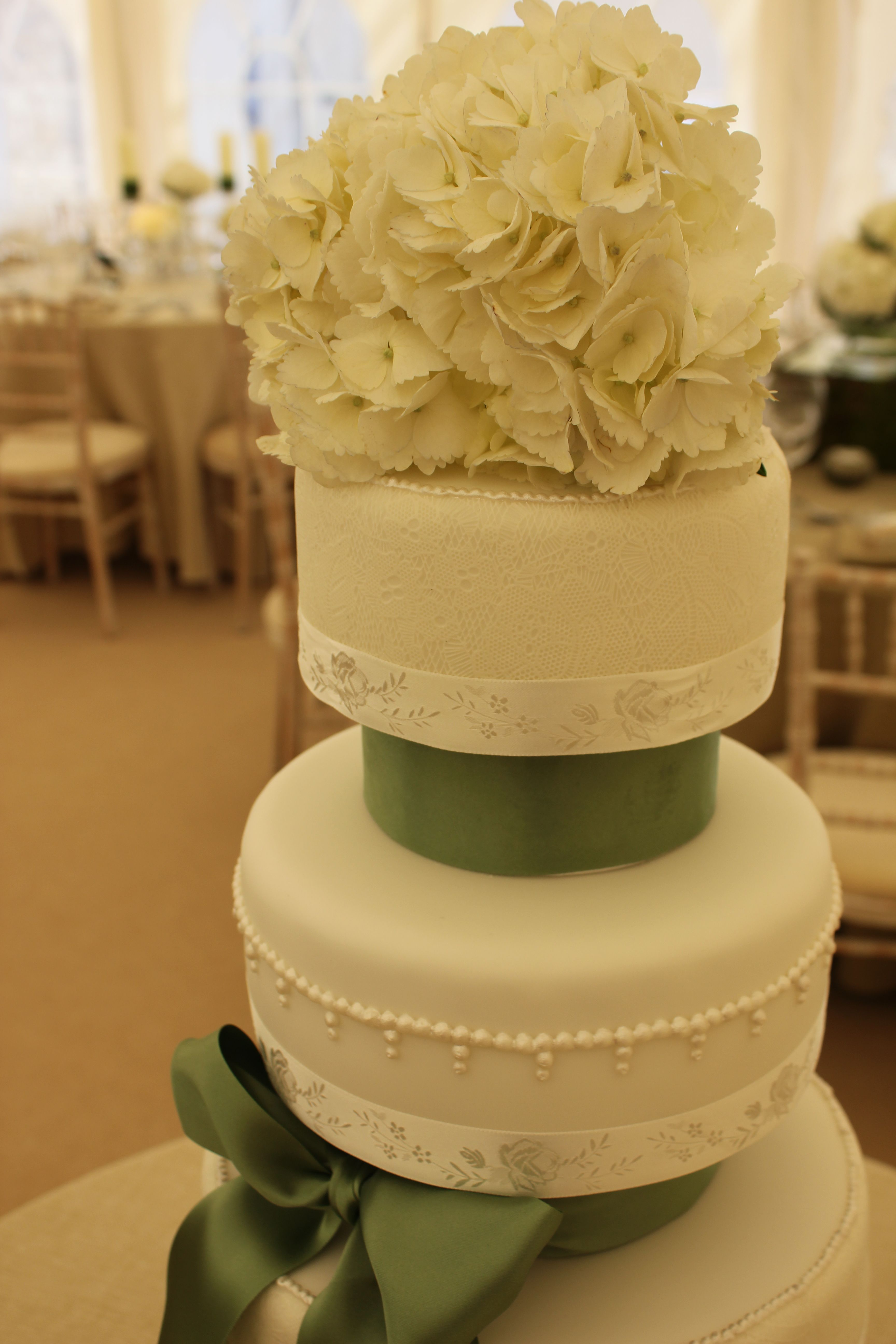 Jade: White Wedding Cake with Sugar Lace and Pearl detailing and ...