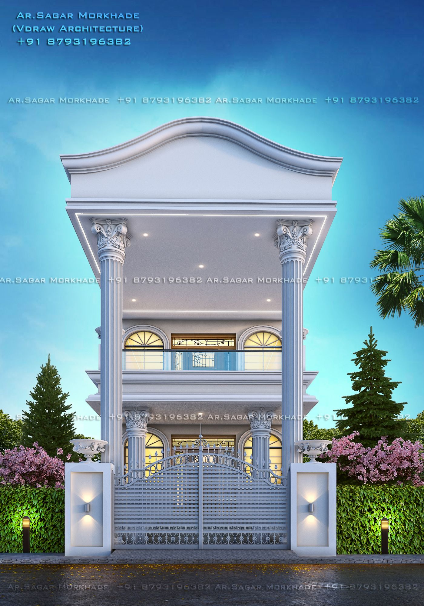 Modern House Bungalow Exterior By Ar Sagar Morkhade Vdraw Architecture 91 8793196382: #Modern #Residential #House #bungalow #Exterior By, Ar.Sagar Morkhade (Vdraw Architecture