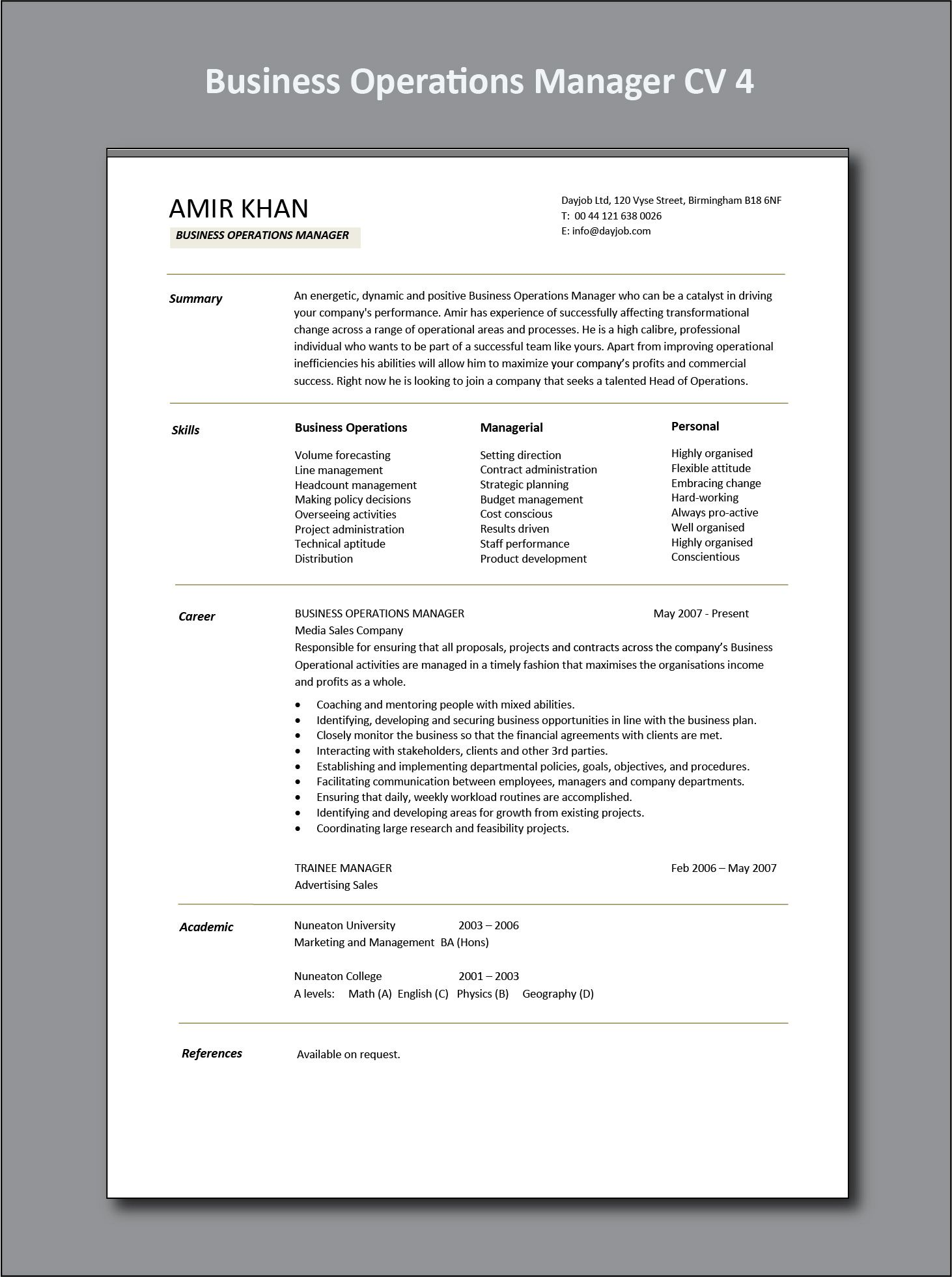 Business Operations Manager CV 4 example, project, PDF ...