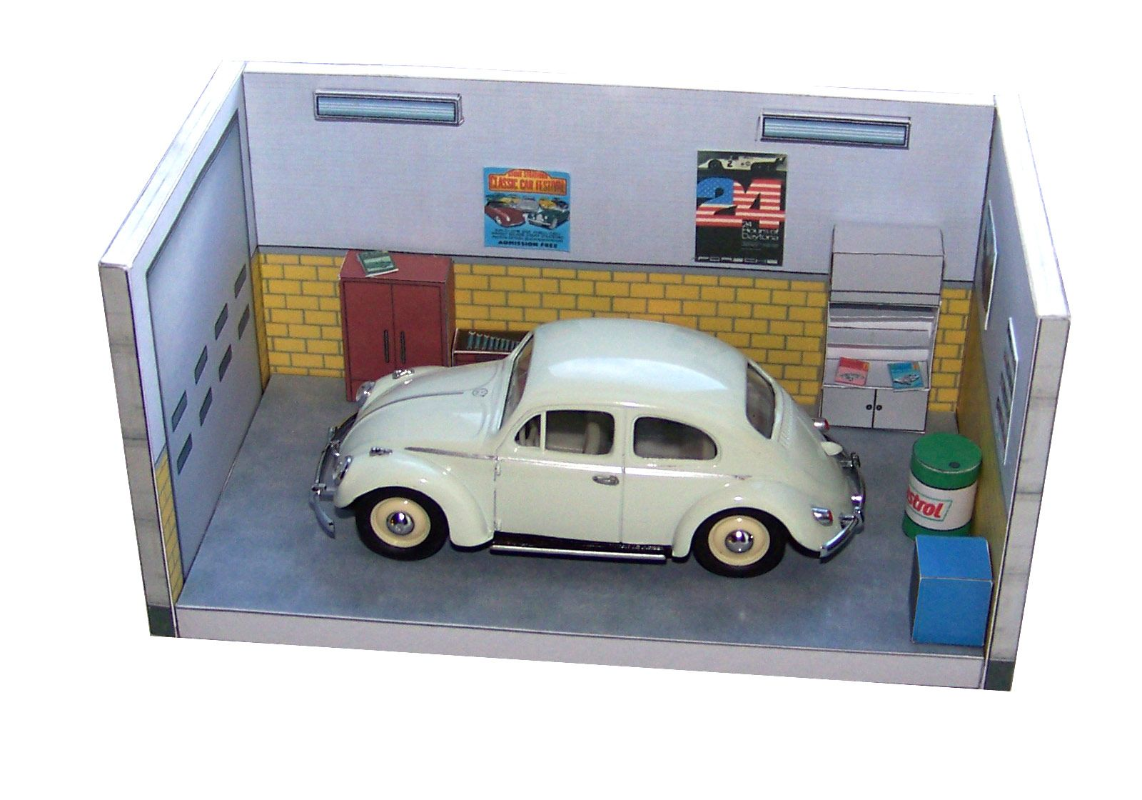 miniature diorama barn garage with ford thunderbird convertible. Black Bedroom Furniture Sets. Home Design Ideas