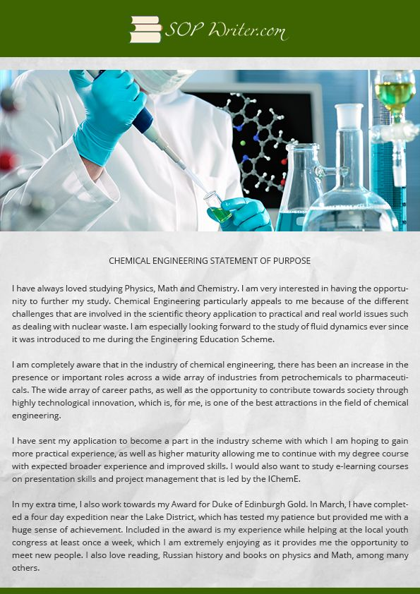 Chemical Engineering Personal Statement Writing Service  Sop