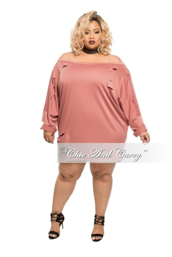 Plus Size Short Sweater Dress with Cutouts in Mauve – Chic And ...