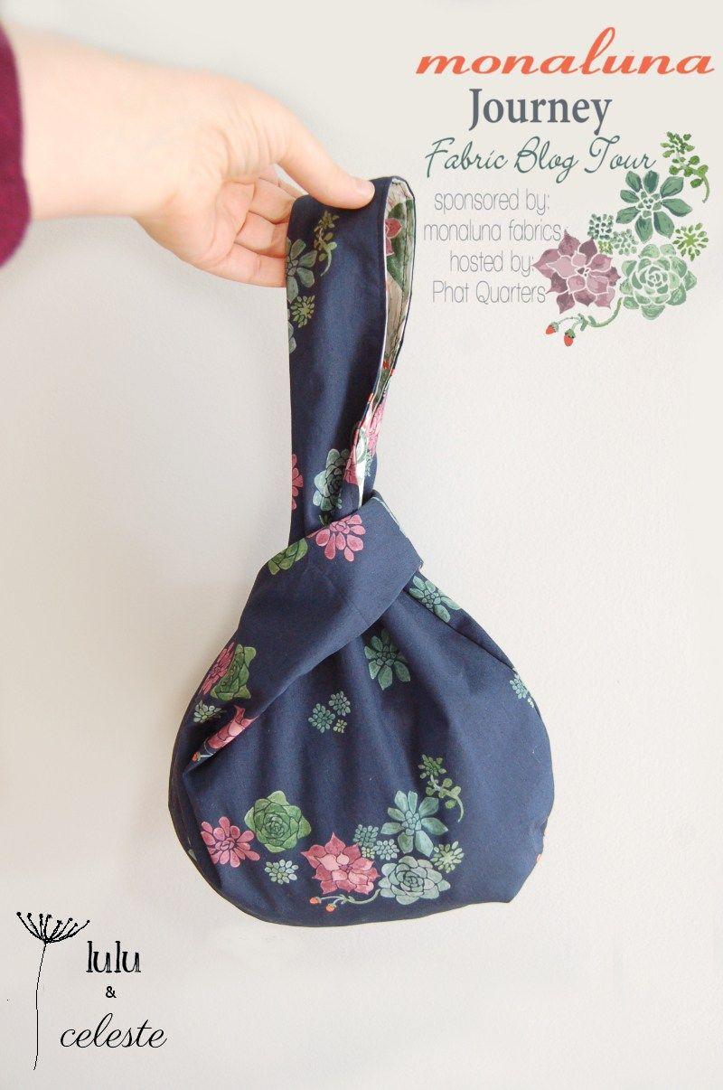Japanese knot bag using Monaluna Journey fabrics sewn by Lulu ...