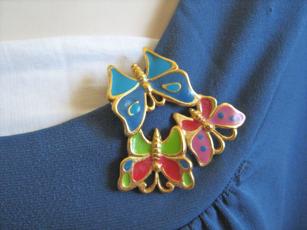 Colorful butterfly enamel brooch signed TC vintage #TC