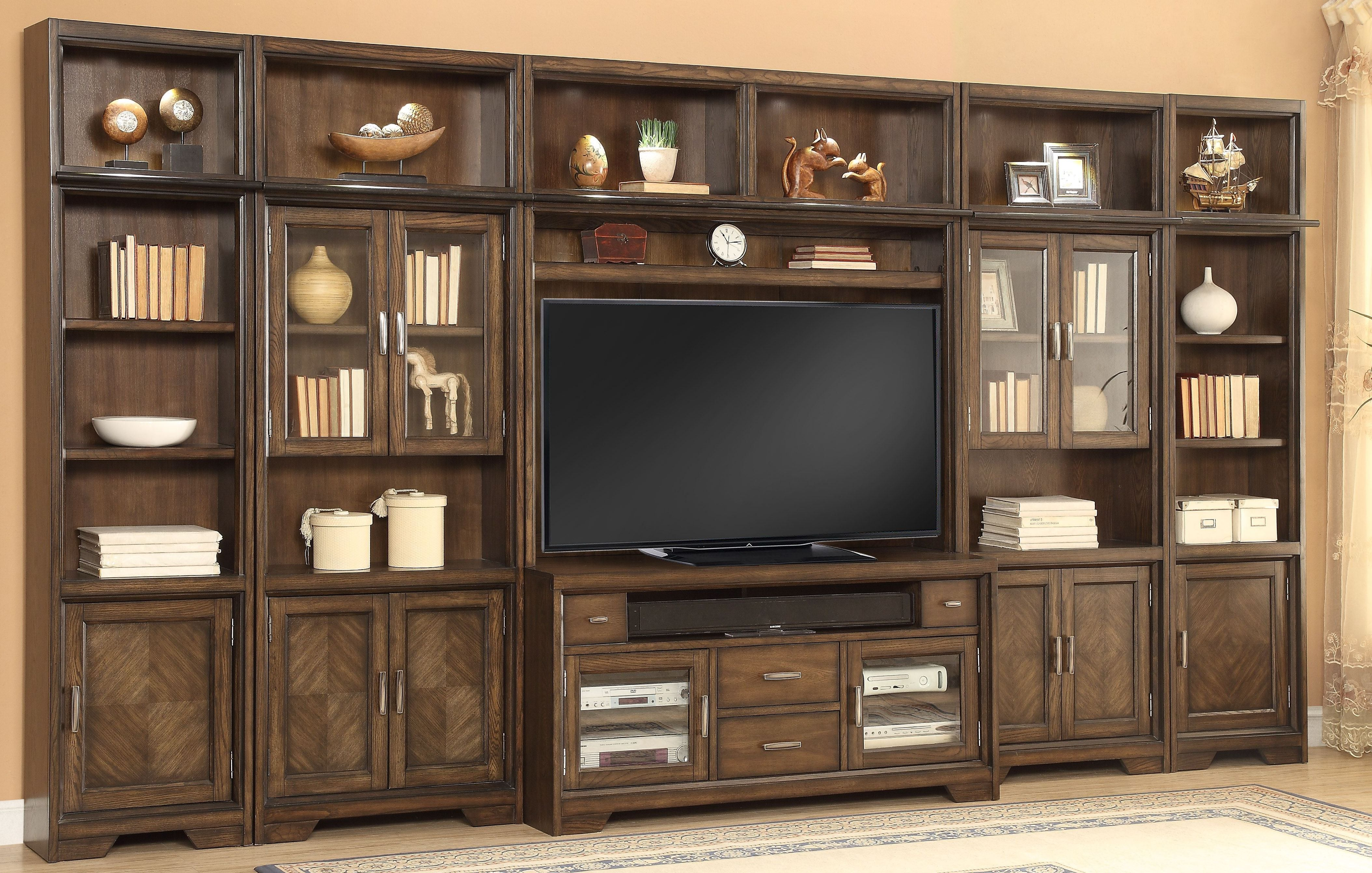 meridien burnished dark ash large entertainment wall unit on wall units id=39278