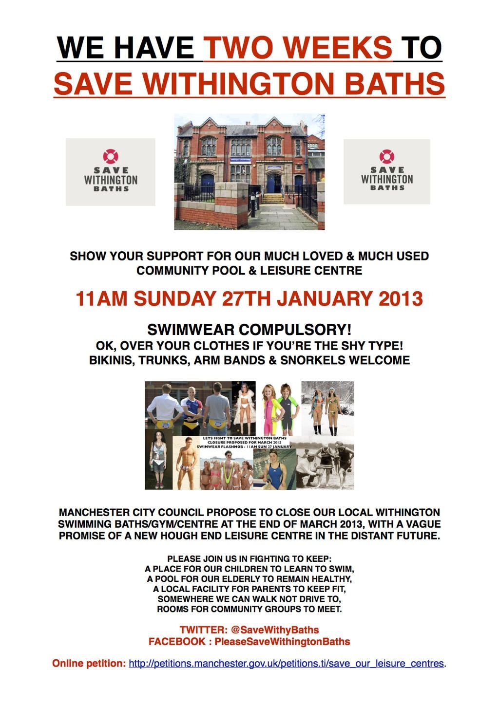 Flyers For A Community Campaign To Save Withington Baths Printed
