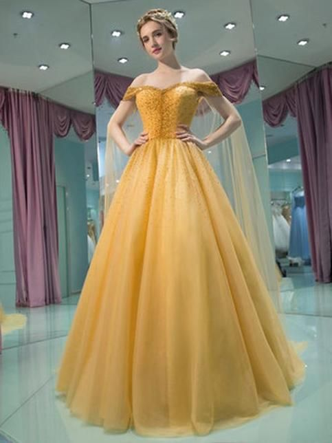 New Style Yellow Dress,Prom Dress, A Line Tulle Prom Dress , Formal Gowns,Sweetheart Formal Dress, Party Dress,Custom Formal Dress #modestprom