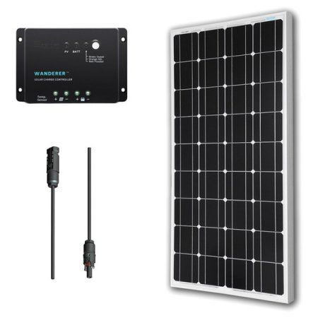 Renogy 100w 12v Solar Panel Monocrystalline Bundle Off Grid Power Kit For Rv Boat Cabin Battery Applications Walmart Com Solar Panel Kits 12v Solar Panel Monocrystalline Solar Panels