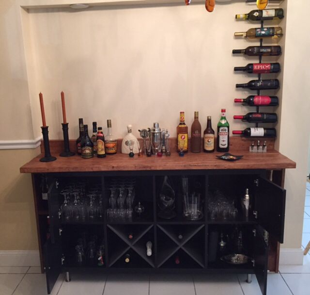 Added ikea doors wine holder to kallax shelving unit for Ikea wine shelf