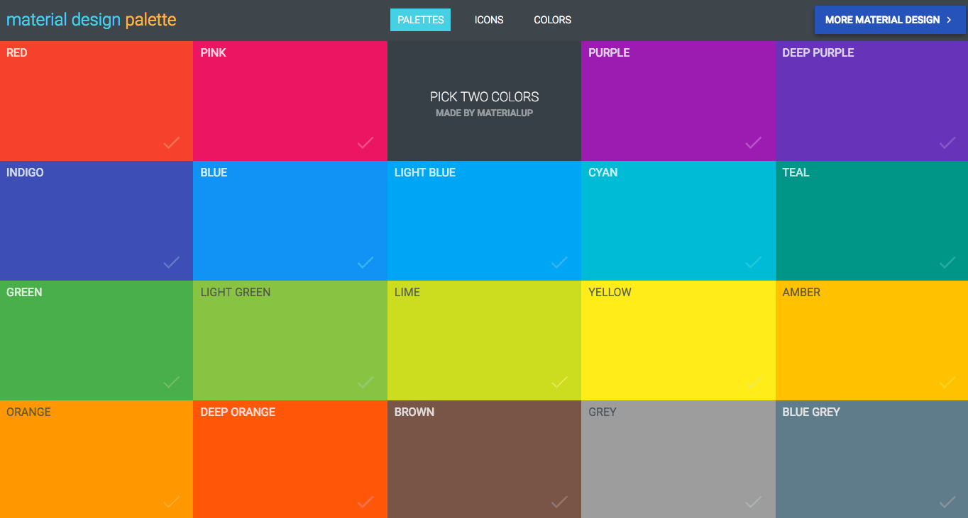 Need Help Picking A Color Scheme For Your Website The Material Design Color Palette Offers A Great St Material Design Material Design Palette Web Design Color