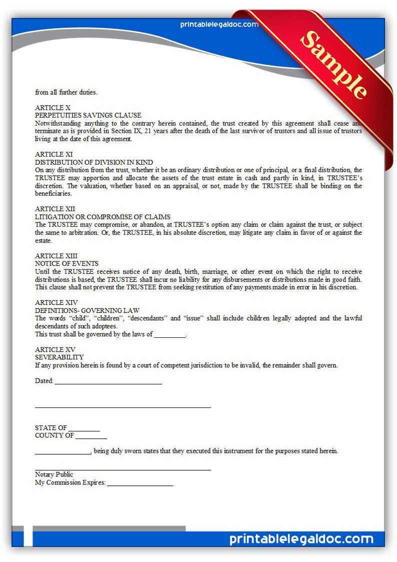 Free Printable Revocable Trust Legal Forms With Images