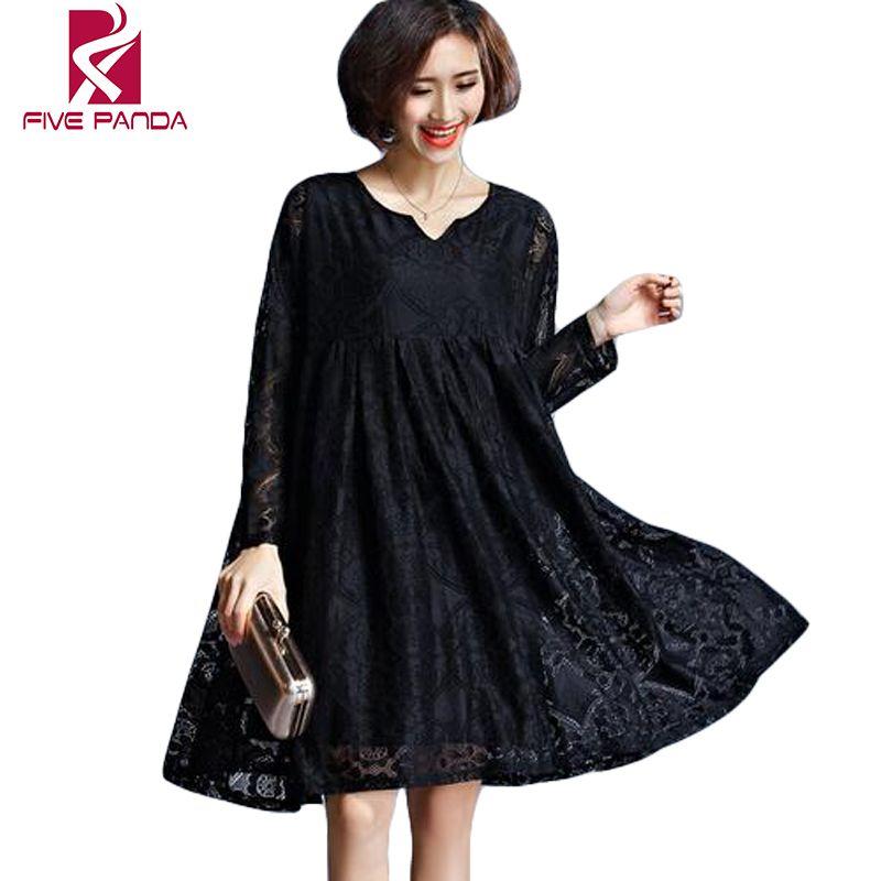 Black Lace Casual Dresses Plus Size Autumn Dress Women Summer 2016