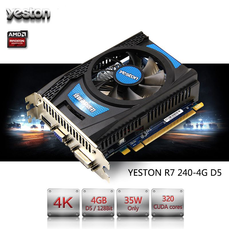Yeston Radeon R7 200 Series R7 240 Gpu 4gb Gddr5 128bit Gaming Desktop Pc Video Graphics Cards Support Vga Dvi Hdmi Graphic Card Gaming Desktop Video Graphics