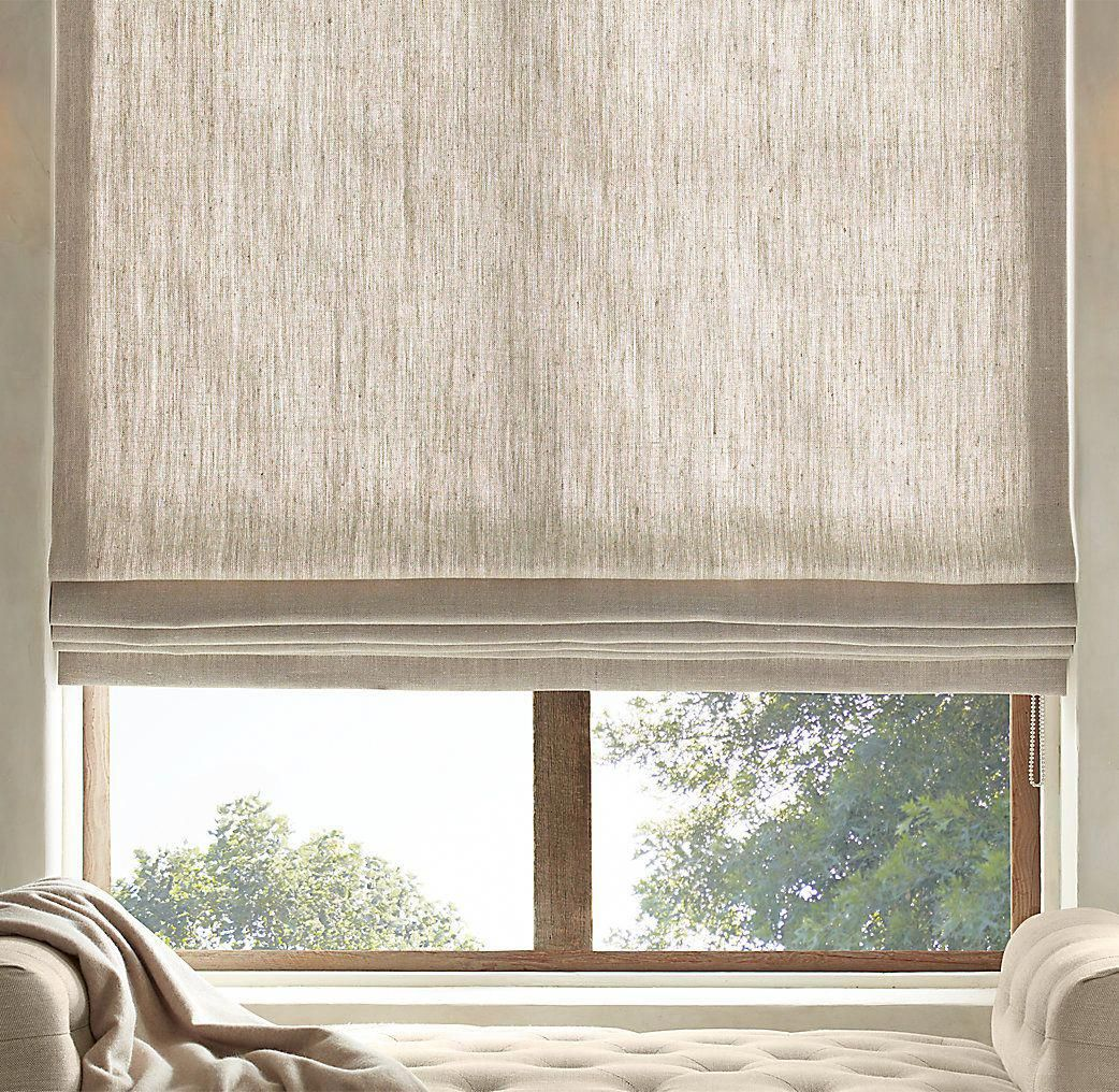 Diy Roman Shades For French Doors Textured Belgian Linen Shades Restoration Hardware