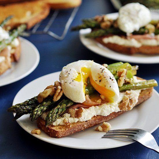 Open faced asparagus sandwiches with a poached egg on top. Perfect light meal, any night of the week.