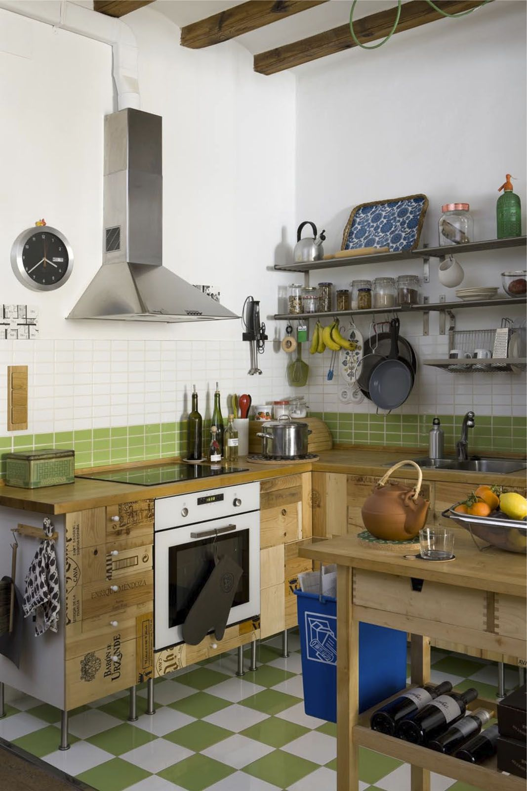 kitchen cabinets made from wine boxes