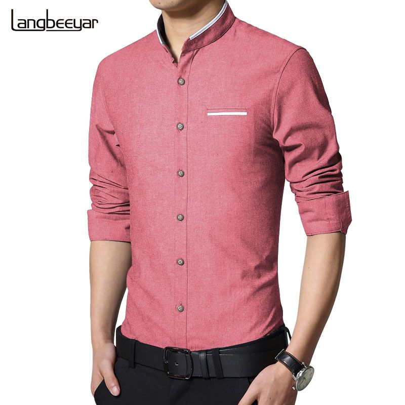 2016 New Fashion Casual Men Shirt Long Sleeve Stand Color Slim Fit ...