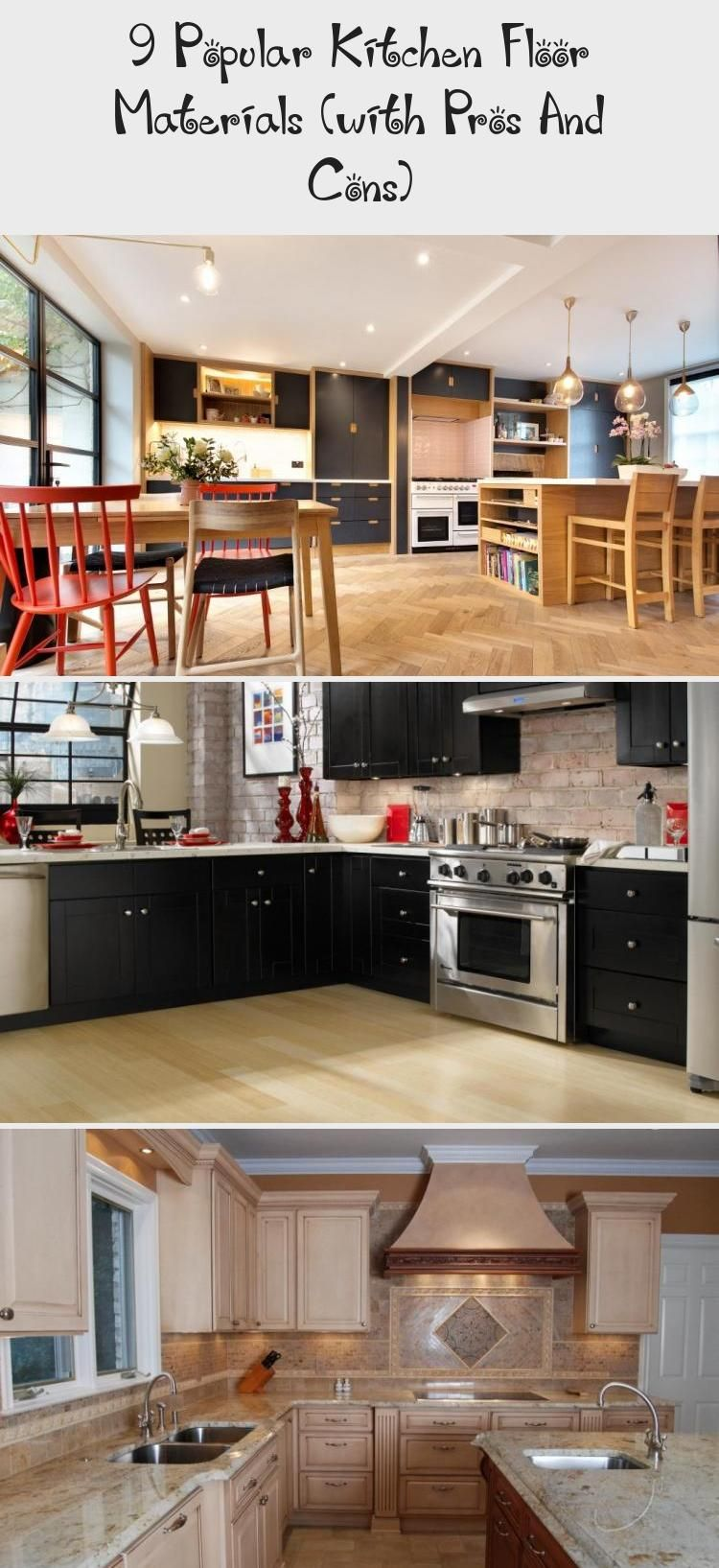 9 Popular Kitchen Floor Materials With Pros And Cons In 2020 Kitchen Flooring Popular Kitchens Flooring