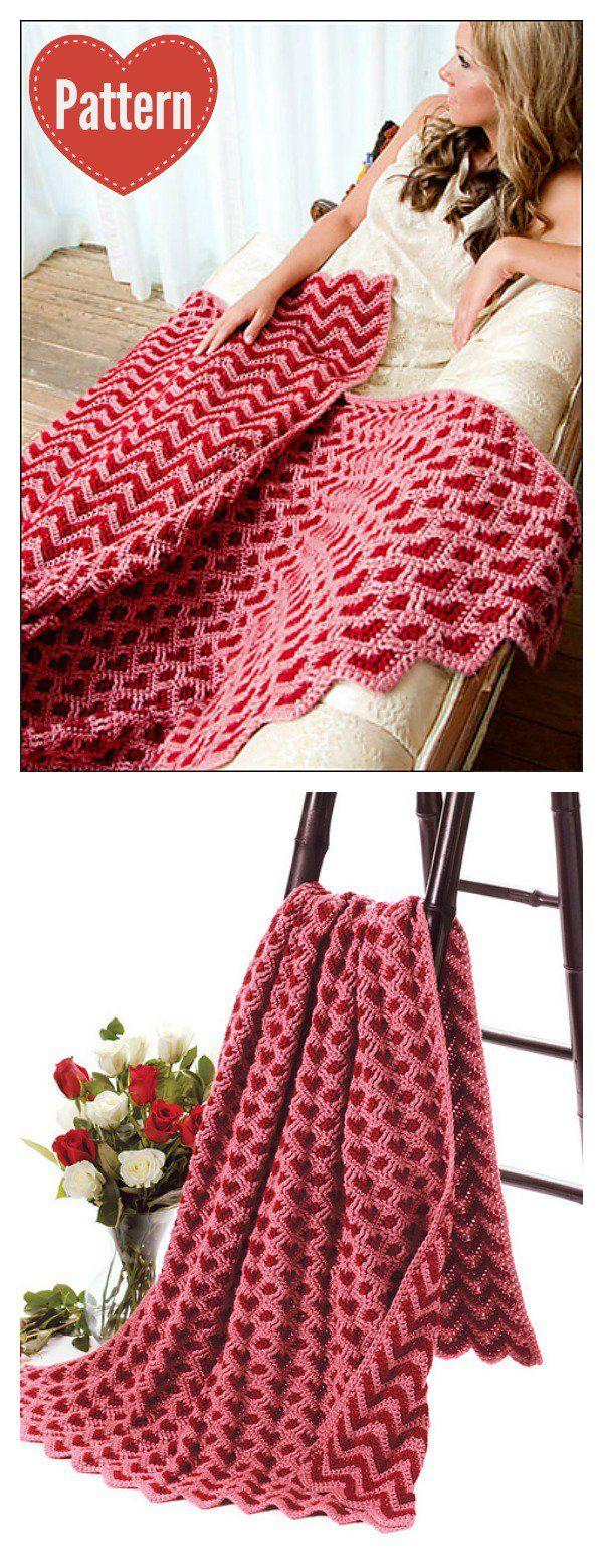 Sweetheart Ripple Afghan Blanket Crochet Pattern | Manta, Cuadrados ...