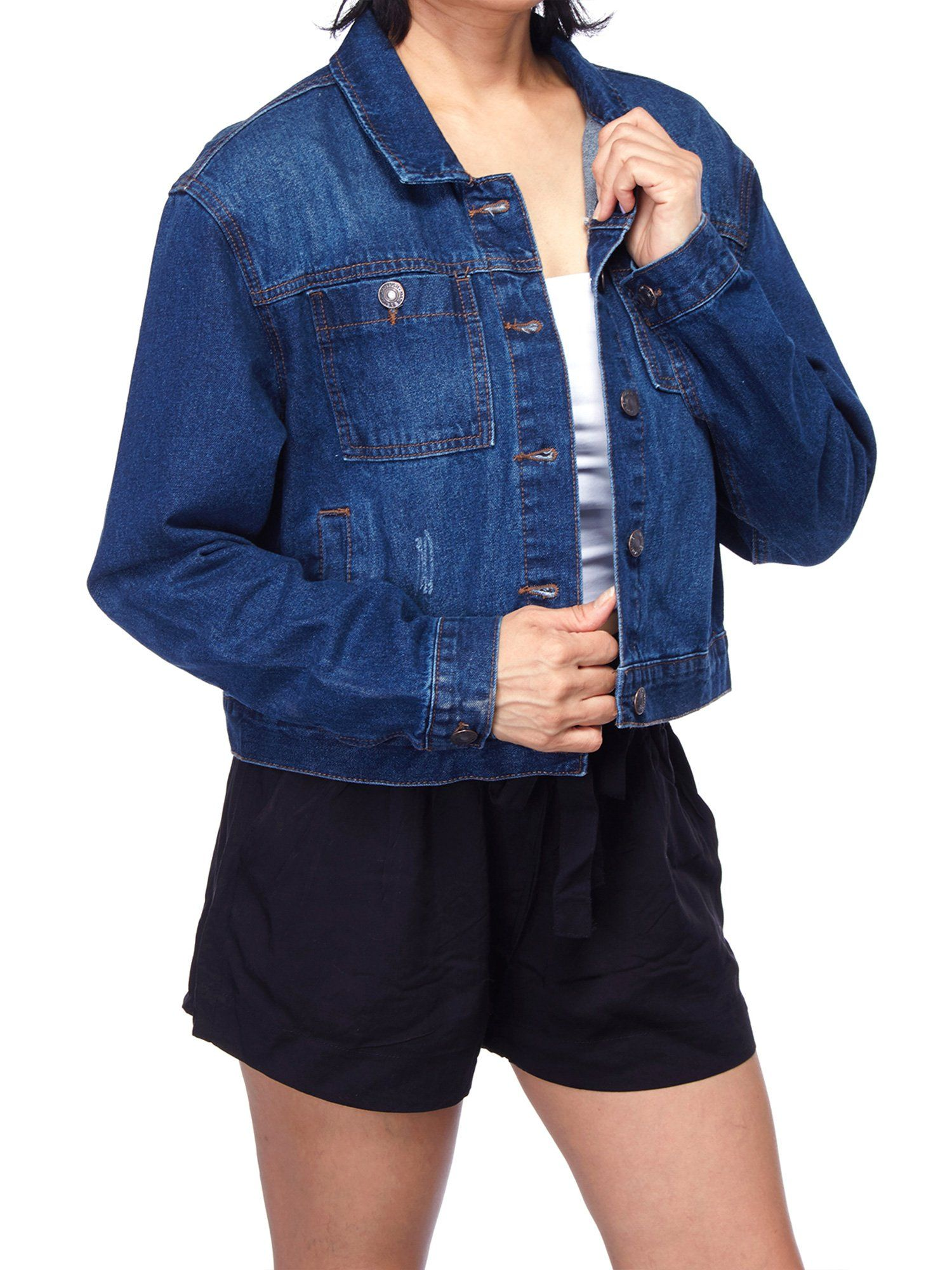 Women's Crop Oversize Trucker Boyfriend Long Sleeve Denim Jean Jacket (FWJ1068) - Dark Denim / M