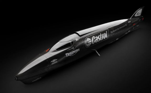 Twin-Engined Triumph Rocket Streamliner To Challenge Motorcycle Land-Speed Record At Bonneville, it will have to go at least 376.363 mph to beat the current world record for its class.