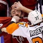 "Hockey Memes (hockeymemes) on Twitter. Comment: ""Doctor Jay Rosehill checking patient Paul Bissonnette's eye"""