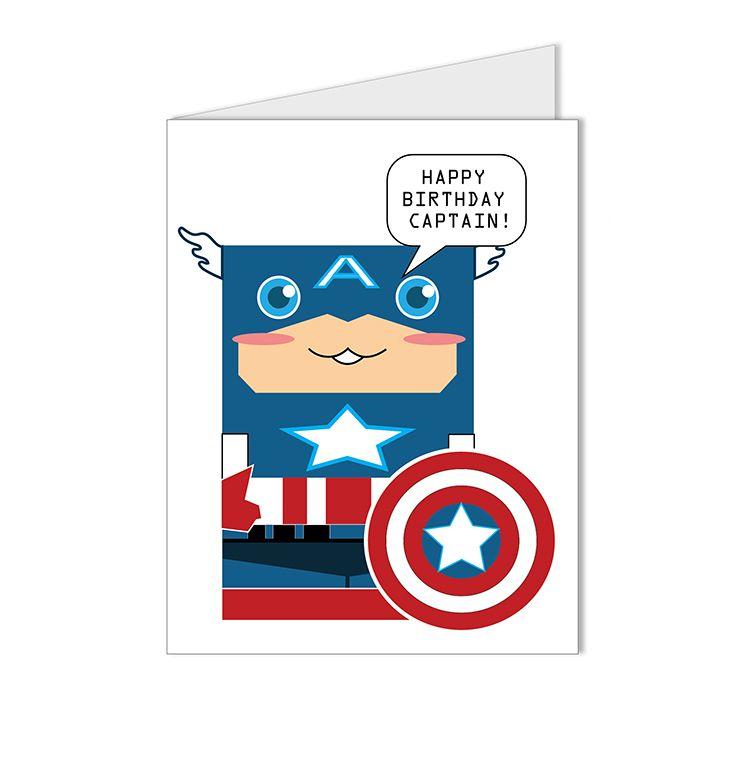 Happy Birthday Superhero Collection Captain America Custom Blank Card