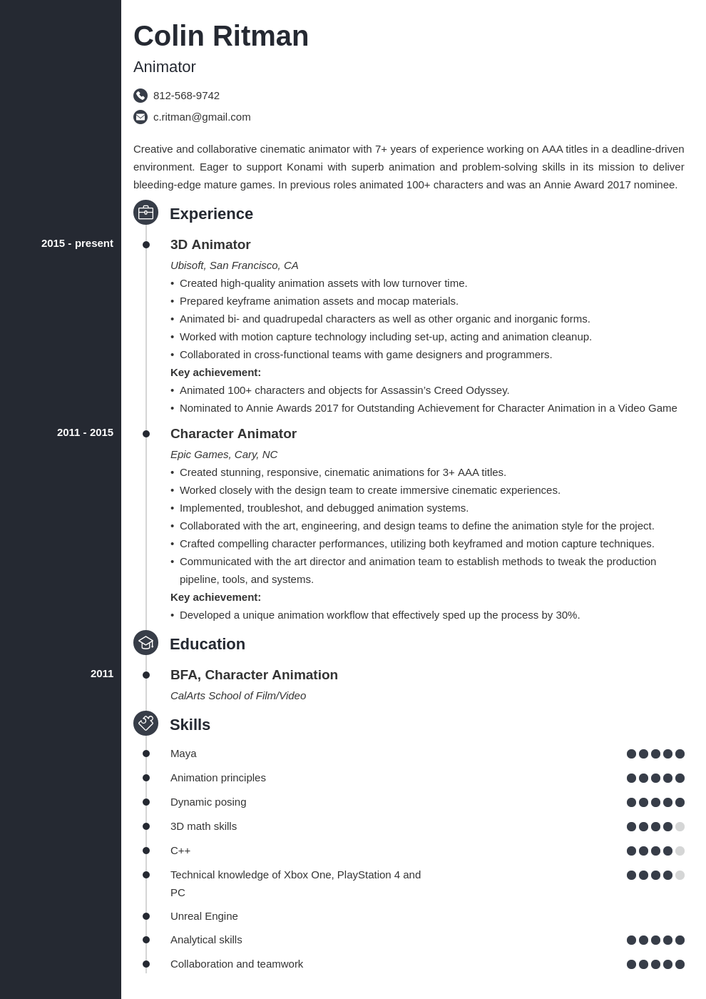 animator resume example template concept in 2020 Resume