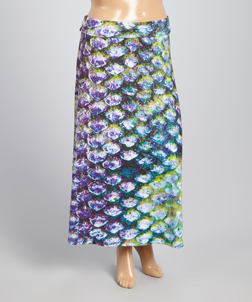 Blue & Green Scale Maxi Skirt - Plus