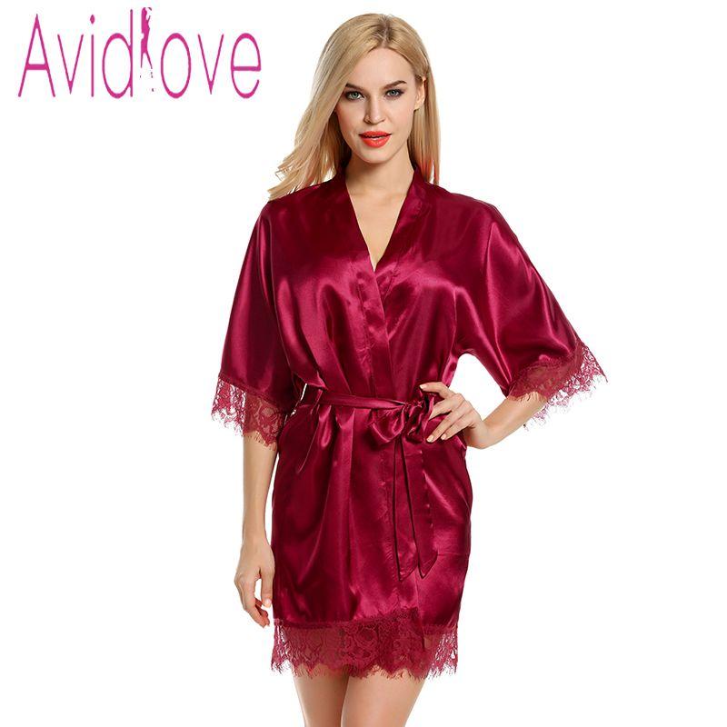 db593ccd9f6 Avidlove Gown Women Short Satin Bride Robe Lace Silk Kimono Bathrobe With  Removable Belt Bridesmaid Plus Size Nightwear Peignoir