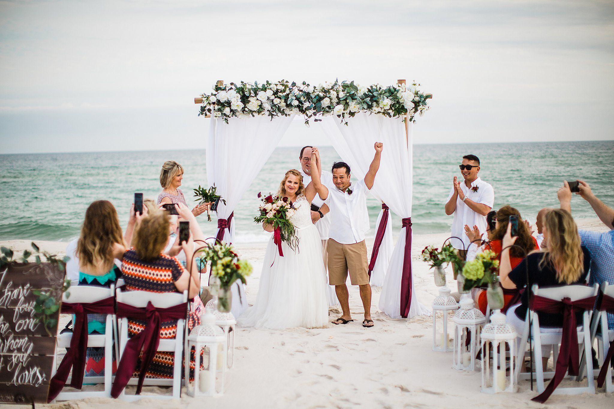 Red White Beach Wedding In 2020 Beach Wedding White Beach Wedding Burgundy Beach Wedding Planner