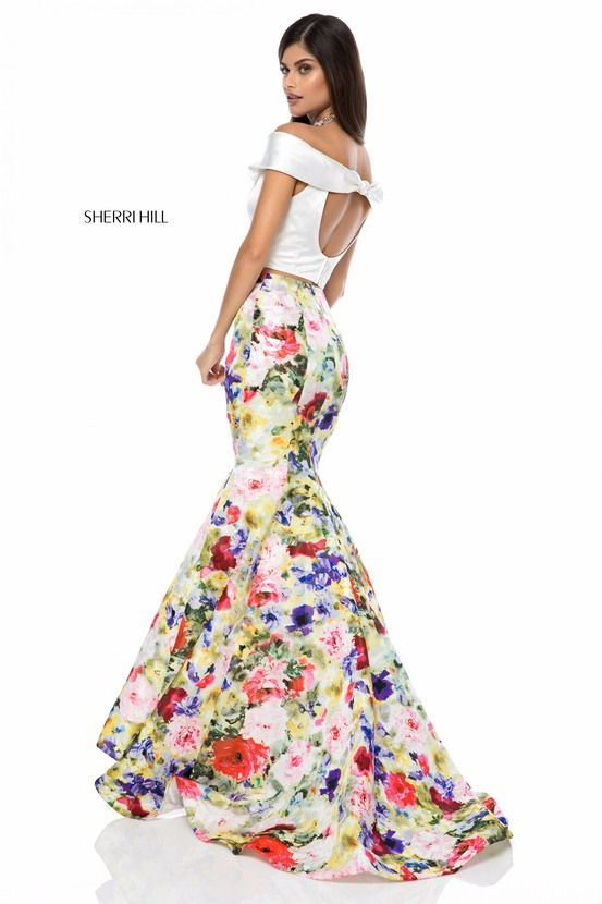 Sherri Hill Spring 2018 Collection Floral Print Fitted Mermaid Skirt ...