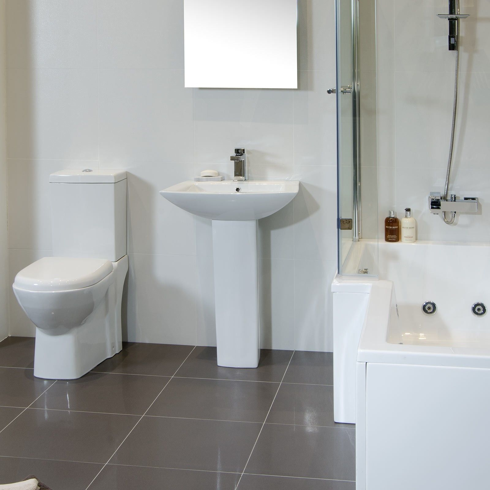 Versailles Blanc Floor Tile - Black And White Bathroom Ideas - White ...