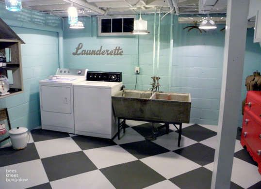Painting Basement Walls Paint Your Cinder Block Basement walls of cinder block brick or even poured concrete can be transformed pretty quickly and simply ... & 12 Finishing Touches for Your Unfinished Basement | Pinterest ...