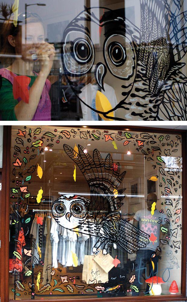 Window art owl leaves shop