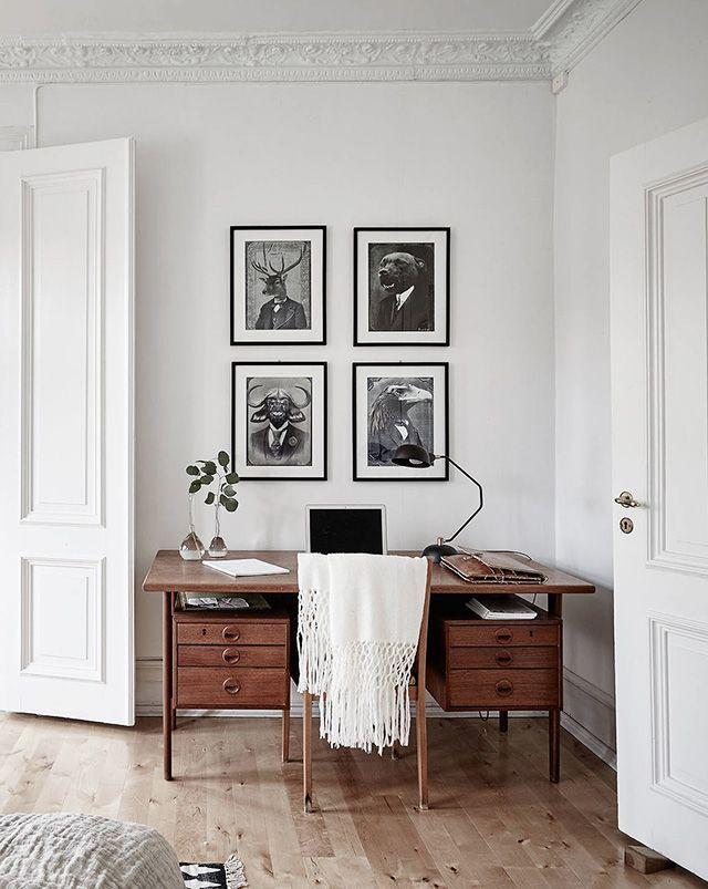 bright white workspace with mid century modern