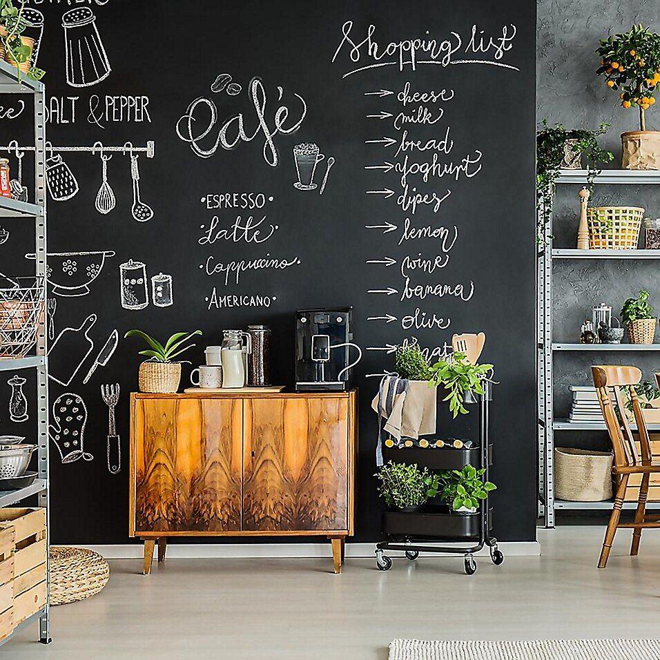 Tempaper Chalkboard Removable Peel And Stick Wallpaper In Black Bed Bath Beyond In 2020 Chalkboard Wall Kitchen Kitchen Chalkboard Homey Kitchen