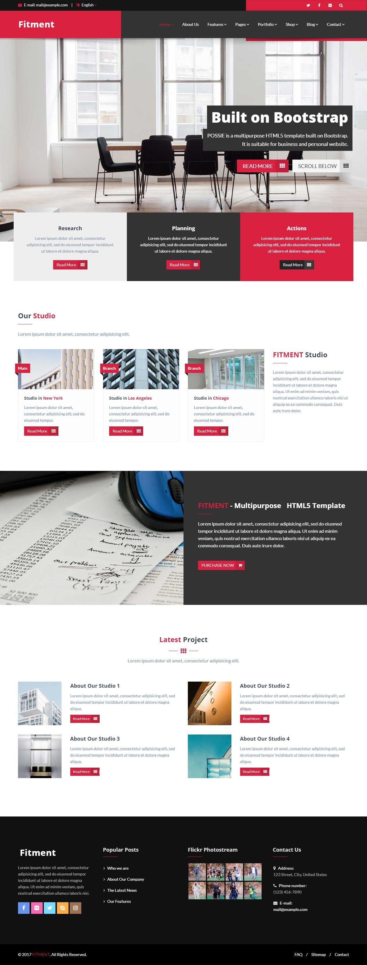 Fitment Is Premium Full Responsive Parallaxtemplate Bootstrap 3 Framework One Page If You Lik Web Design Business Website Templates Web Design Inspiration