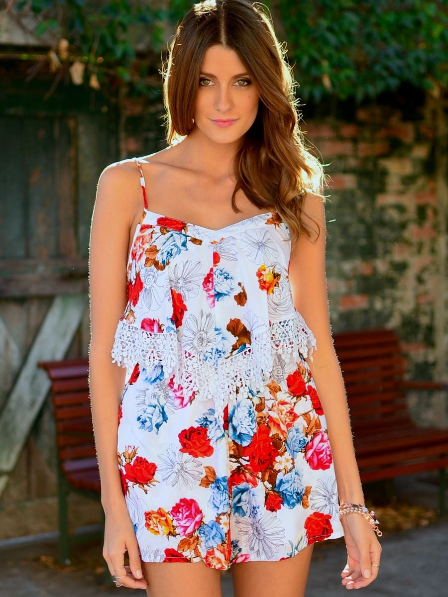 Sketched Secrets Playsuit at Mura Boutique 2013  Multi-coloured floral playsuit with frill top detail. Cute tropical floral design.