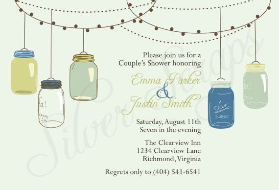 Vintage Hanging Mason Jars-Custom Rehearsal Dinner, Shower, Engagement, Birthday, Baby Shower Invitation - Aqua Teal Green Navy Printable