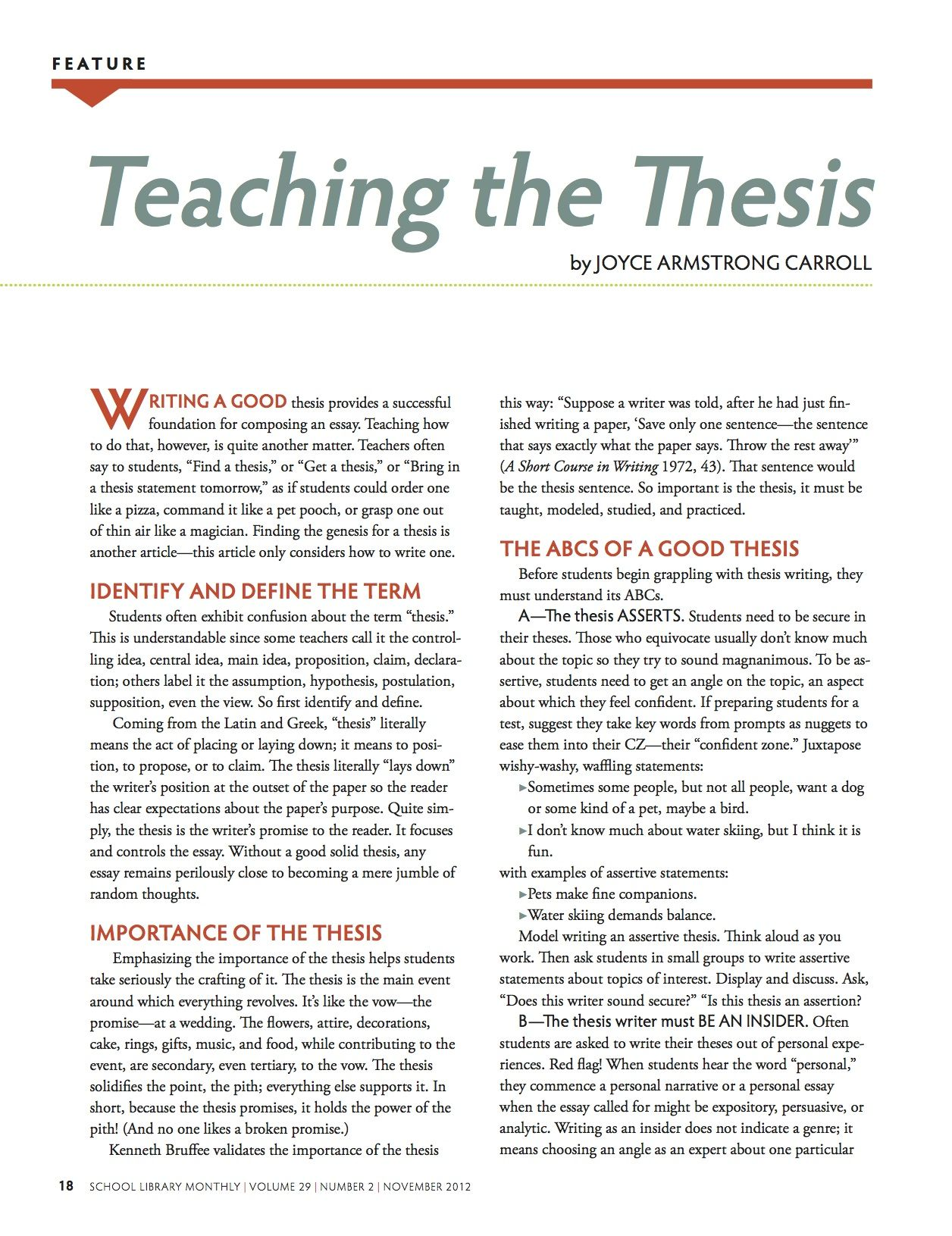 Teaching The Thesis