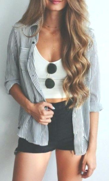 Photo of shorts summer outfits shirt stripes button up cute pretty sweet tumblr girl vert…