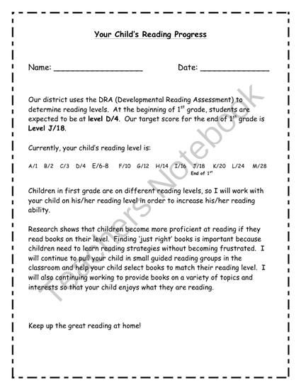 Reading Level Explanation Letter From JackieS Jungle On