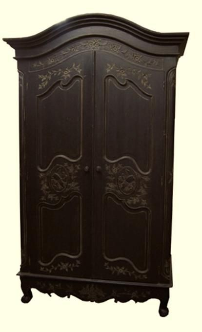 Best French Entertainment Armoire Antique Black W Harlequin 400 x 300