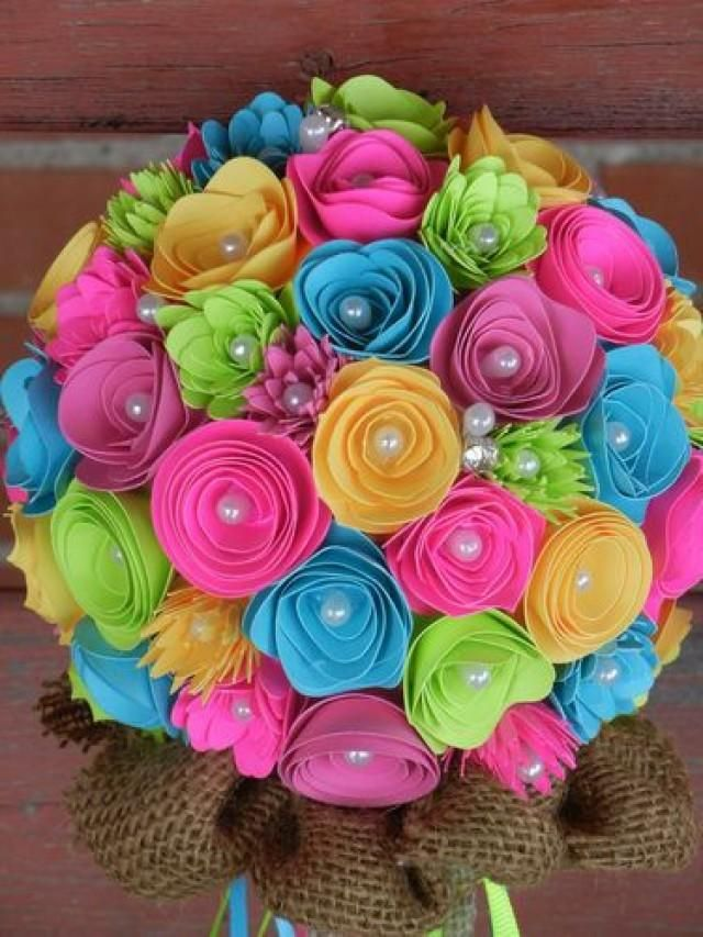 Weddbook is a content discovery engine mostly specialized on wedding concept. You can collect images, videos or articles you discovered  organize them, add your own ideas to your collections and share with other people - Neon colored wedding bouquet for sale on Ebay