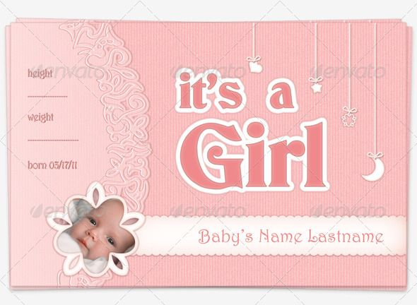 Baby Girl Announcement Postcard Baby girl announcement, Postcard - postcard format template