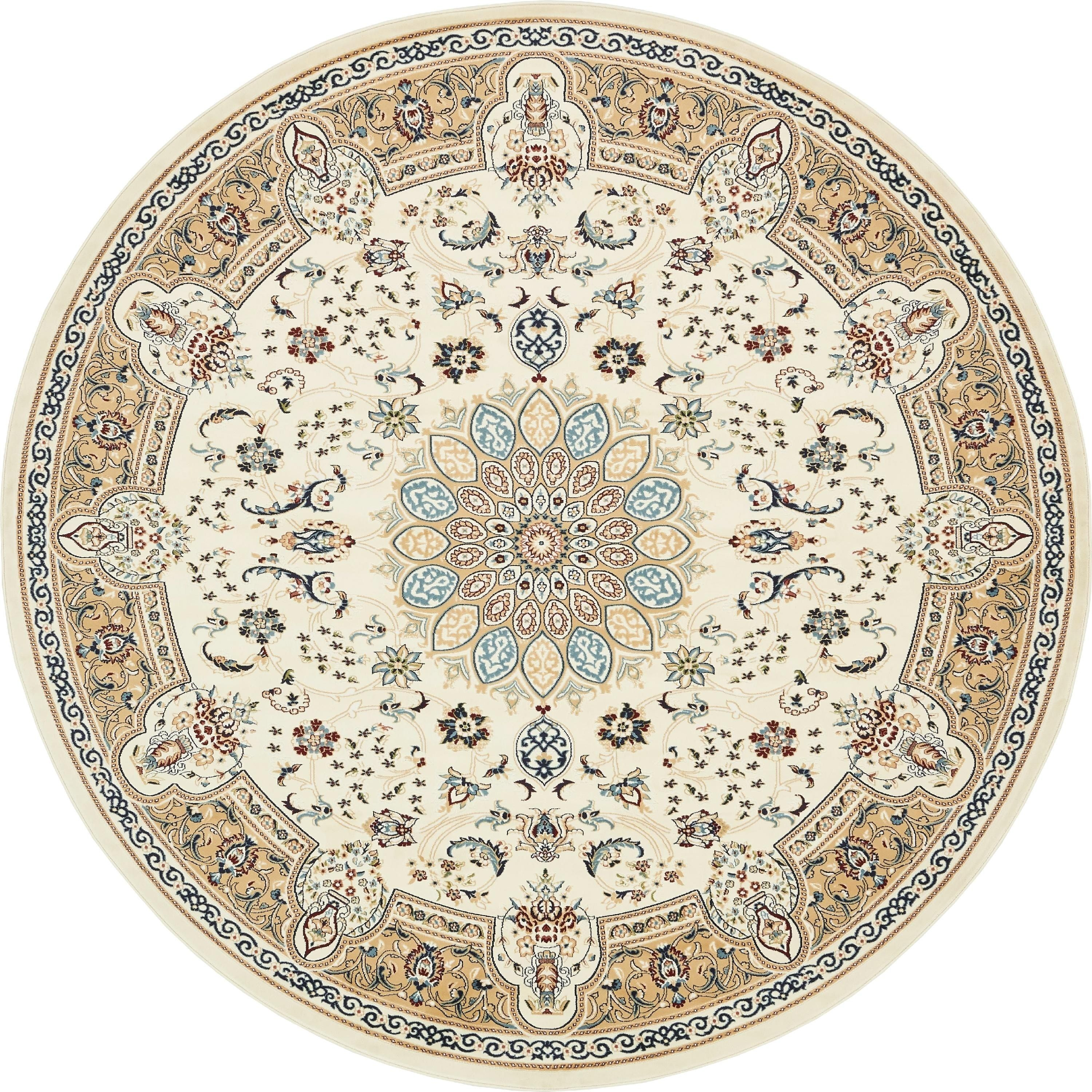 Unique Loom Nain Design Traditional Fl Burgundy Cream Fabric Blend Cotton Indoor Outdoor Round Rug 10 X Navy Blue Size