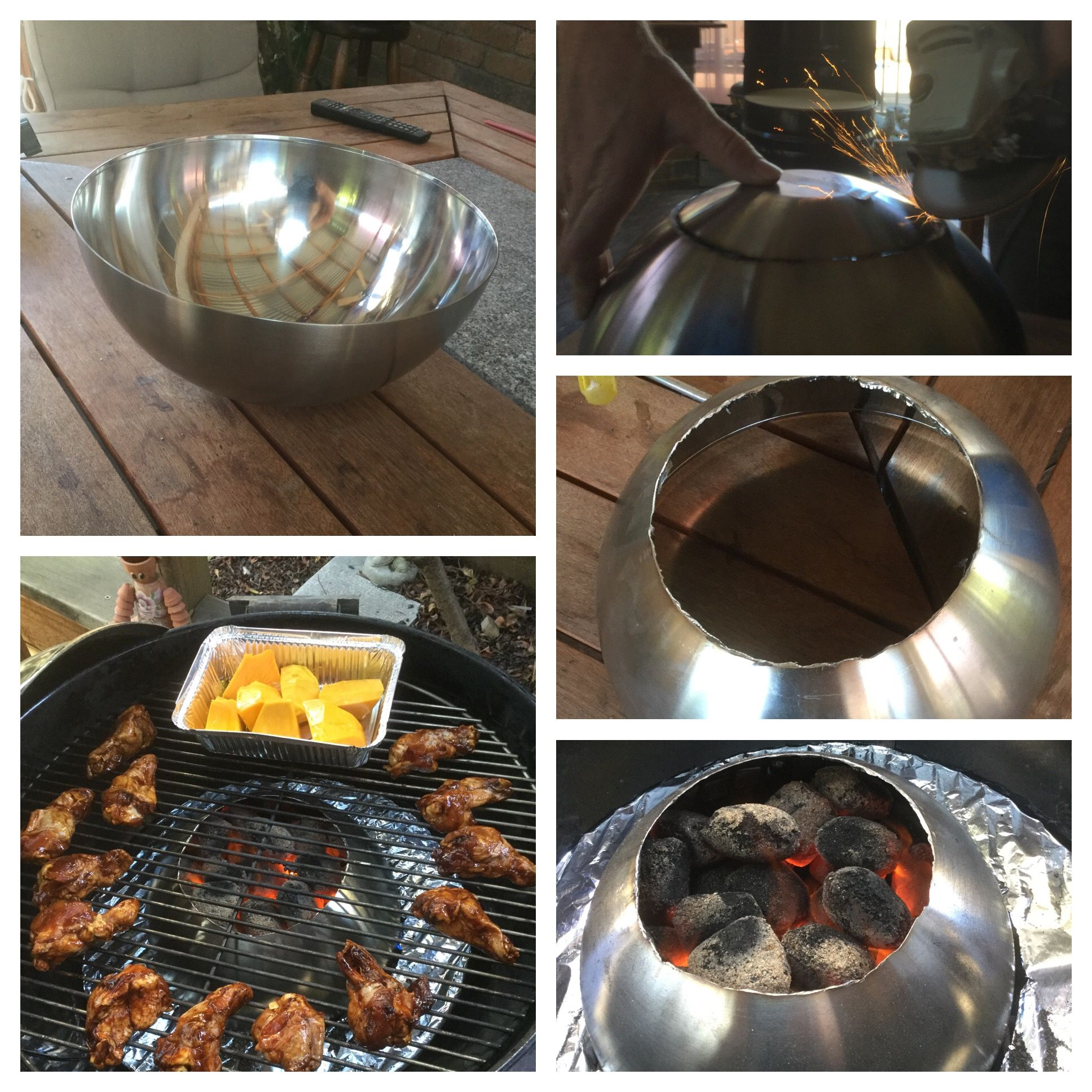 Ikea Barbecue Charbon De Bois home made 'weber' vortex made from ikea stainless bowl
