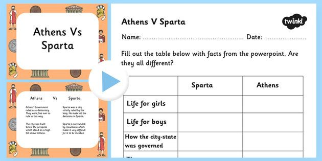 Sparta Vs Athens Powerpoint And Worksheet Athens Sparta Athens