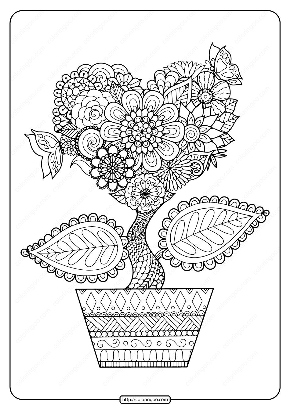 Printable Heart Flower Pdf Coloring Page in 2020 Mandala
